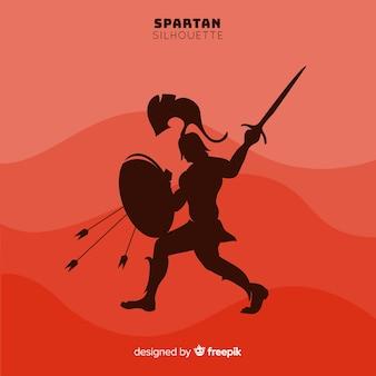 Schattenbild des spartanischen kriegers mit klinge