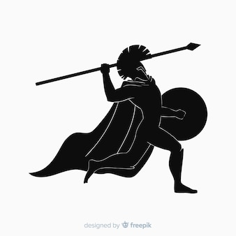 Schattenbild des spartanischen kriegers mit speer