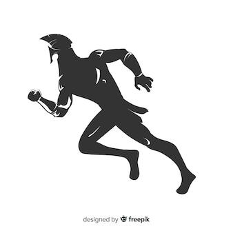 Schattenbild des spartanischen kriegerslaufens