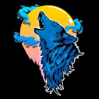 Schattenbild des wolfes auf schwarzem hintergrund