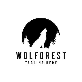 Schattenbild des wolfs heulend an der vollmondvektorillustration