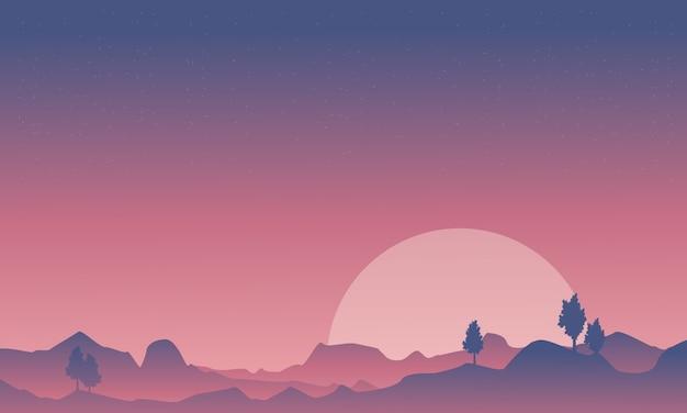 Schattenbild des wüsten- und gebirgshintergrundes