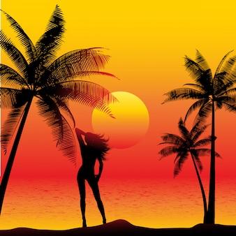 Schattenbild einer frau auf einem sonnenuntergangstrand mit palmen
