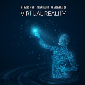 Schattenbild einer frau, die einen virtuellen gegenstand in einem virtuellen badekurort berührt