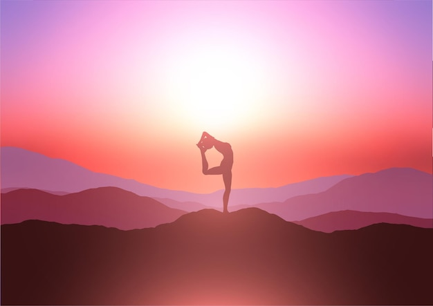 Schattenbild einer frau in einer yoga-pose auf einem hügel gegen einen sonnenuntergangshimmel