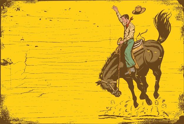 Schattenbild eines cowboys, der ein wildes pferd reitet