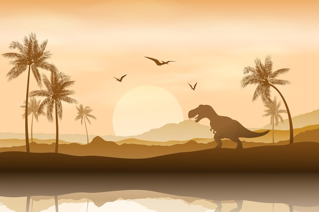 Schattenbild eines dinosauriers im riverbankhintergrund