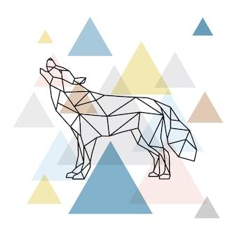 Schattenbild eines geometrischen wolfs.
