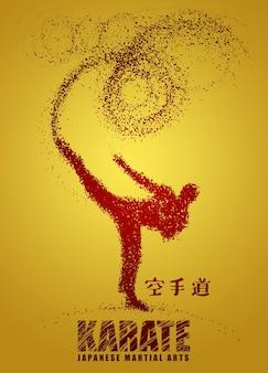 Schattenbild eines karateka, der stehenden seitentritt tut