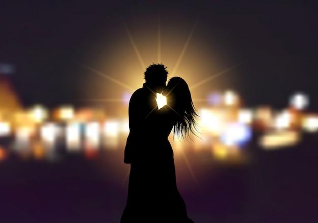 Schattenbild eines liebevollen paares auf bokeh beleuchtet hintergrund