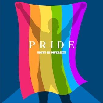 Schattenbild eines mannes, der eine flagge des homosexuellen stolzes hält