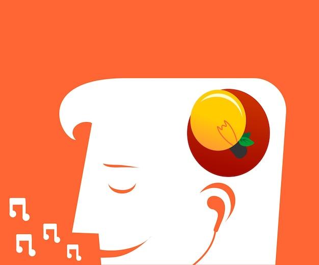 Schattenbild eines mannes, der musik hört und singt, um eine neue idee zu erhalten
