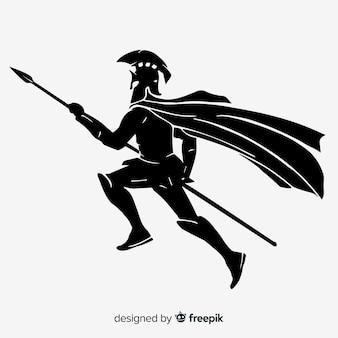 Schattenbild eines spartanischen kriegers