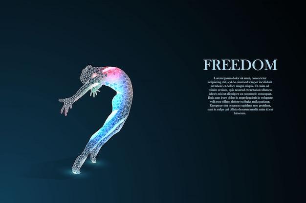 Schattenbild eines springenden mannes. freiheitskonzept.
