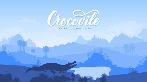 Schattenbild eines wilden tieres in australienhintergrund. landschaft der berge