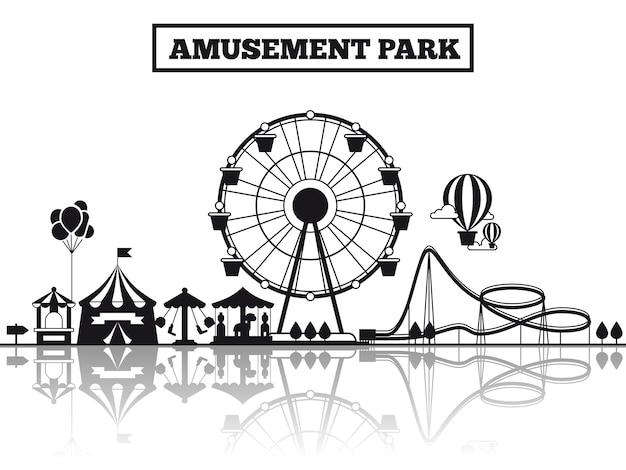Schattenbild-fahnenplakatdesign des vergnügungsparks schwarzes