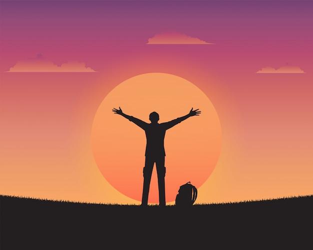 Schattenbild glücklich ein mann des sonnenunterganghintergrundes