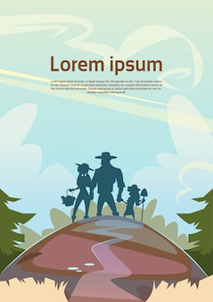 Schattenbild-landwirte familien-ackerland-landschafts-landschaft