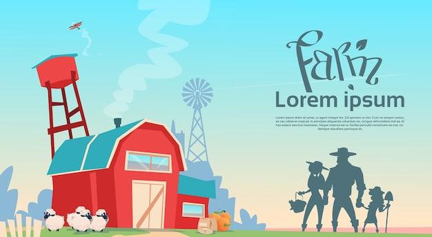 Schattenbild-landwirtschafts-familien-erbauernhofland