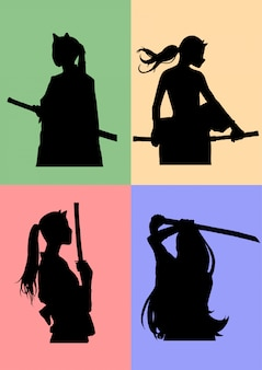 Schattenbild maskierte samurai-mädchen
