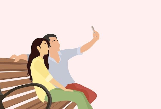 Schattenbild-paar-mann-mädchen, das selfie-foto macht