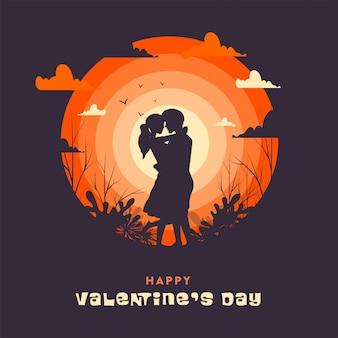Schattenbild-paare, die auf abend-ansicht-purpur für glückliche valentinstag-feier umarmen.