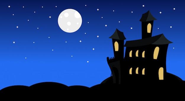 Schattenbild-schloss mit geistern im mondschein-furchtsamen schatten-glücklicher halloween-illustration süßes sonst gibt's saures konzept-feiertag