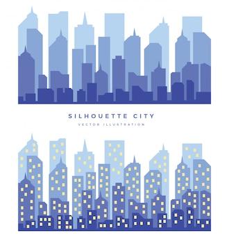 Schattenbild-stadthintergrund mit zwei varianten. nachtstadt