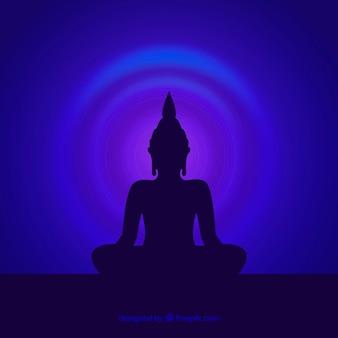 Schattenbild von budha mit flachem design