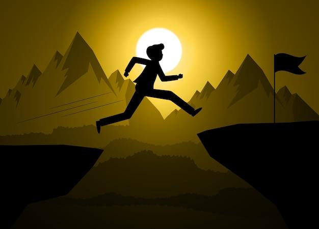 Schattenbildabbildung eines geschäftsmannes springt