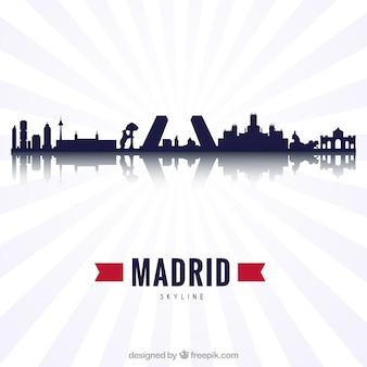 Schattenbilddesign der skyline von madrid