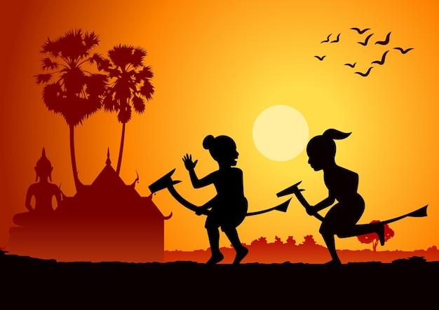 Schattenbildentwurf von jungen, die bananenpferd reiten