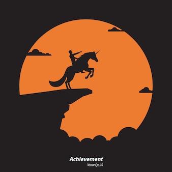 Schattenbildgeschäftsmann und einhornpferd