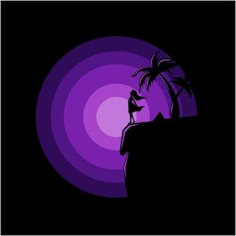 Schattenbildillustration der frau am rand eines klippenvektors