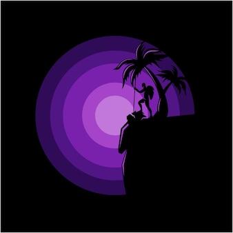 Schattenbildillustration des bergsteigers am rand eines klippenvektors