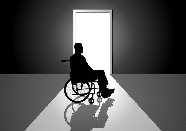Schattenbildillustration einer person auf einem rollstuhl