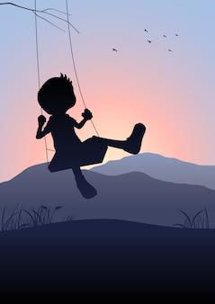 Schattenbildillustration eines kindes auf einem schwingen