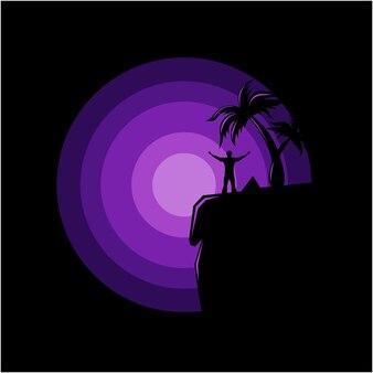 Schattenbildillustration eines mannes, der am rand eines klippenvektors steht