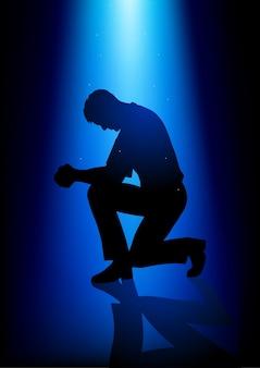 Schattenbildillustration eines mannes, der betet