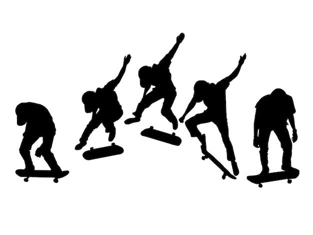 Schattenbildsatz männer skateboard auf weißem hintergrund