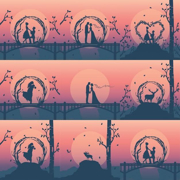 Schattenbildschablonen von romantischen paaren für hochzeitsplaner