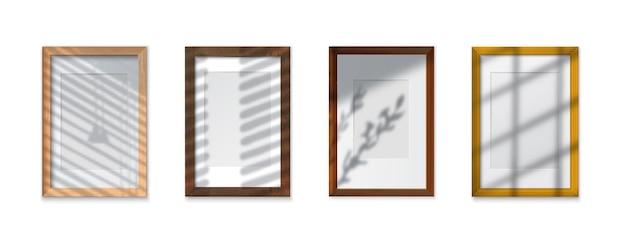 Schattenglasrahmen realistisches set mit strukturierten effekten isolierte illustration
