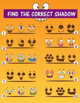 Schattenspiel für kinder mit monster-emoticons. vektorbildungspuzzle, um das richtige schattenvorlagendesign mit lustigen cartoon-emojis von vampir, alien und cyclop, oger und mutant zu finden