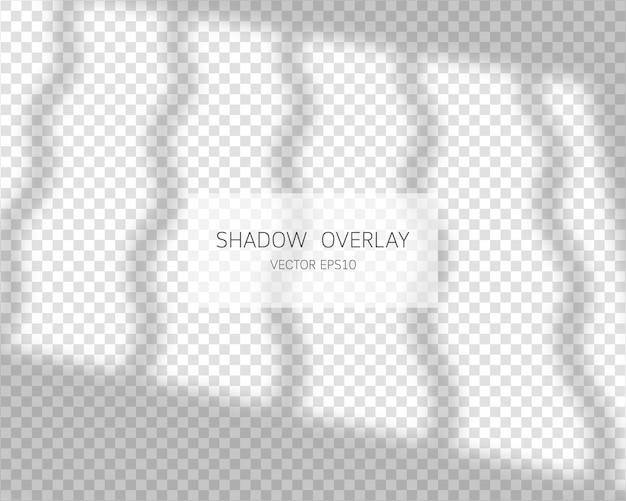 Schattenüberlagerungseffekt. natürliche schatten vom fenster isoliert auf transparent