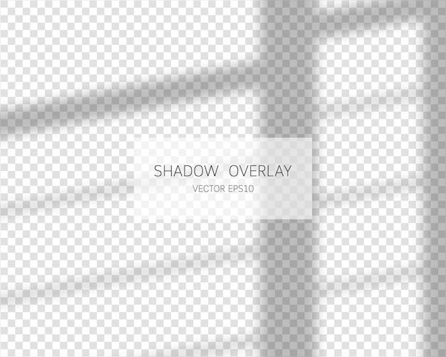 Schattenüberlagerungseffekt. natürliche schatten vom fenster isoliert auf transparent.