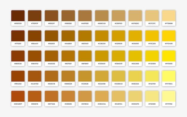 Schattierungen der gelben farbpalette mit hex