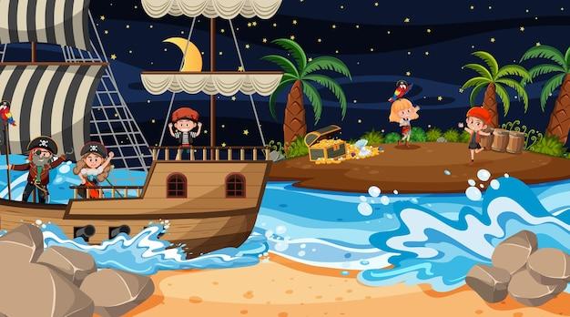Schatzinsel-szene bei nacht mit piratenkindern
