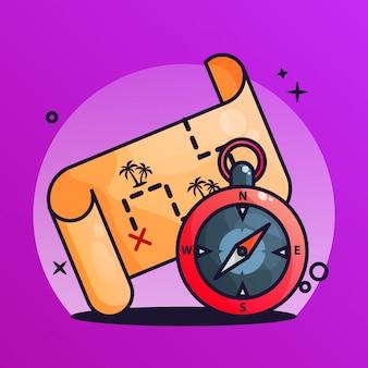 Schatzkarte und kompass-steigungs-illustration