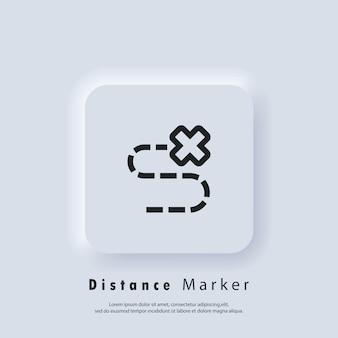 Schatzkarte versteckter ort mit einem x markiert. symbol für die reisenavigation. distanz verfolgen. zielsymbol. standort der route. karte lage.