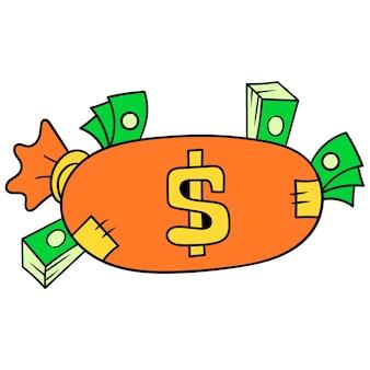 Schatzsack gefüllt mit dollarvermögen. karton-emoticon. gekritzelsymbolzeichnung, vektorillustration